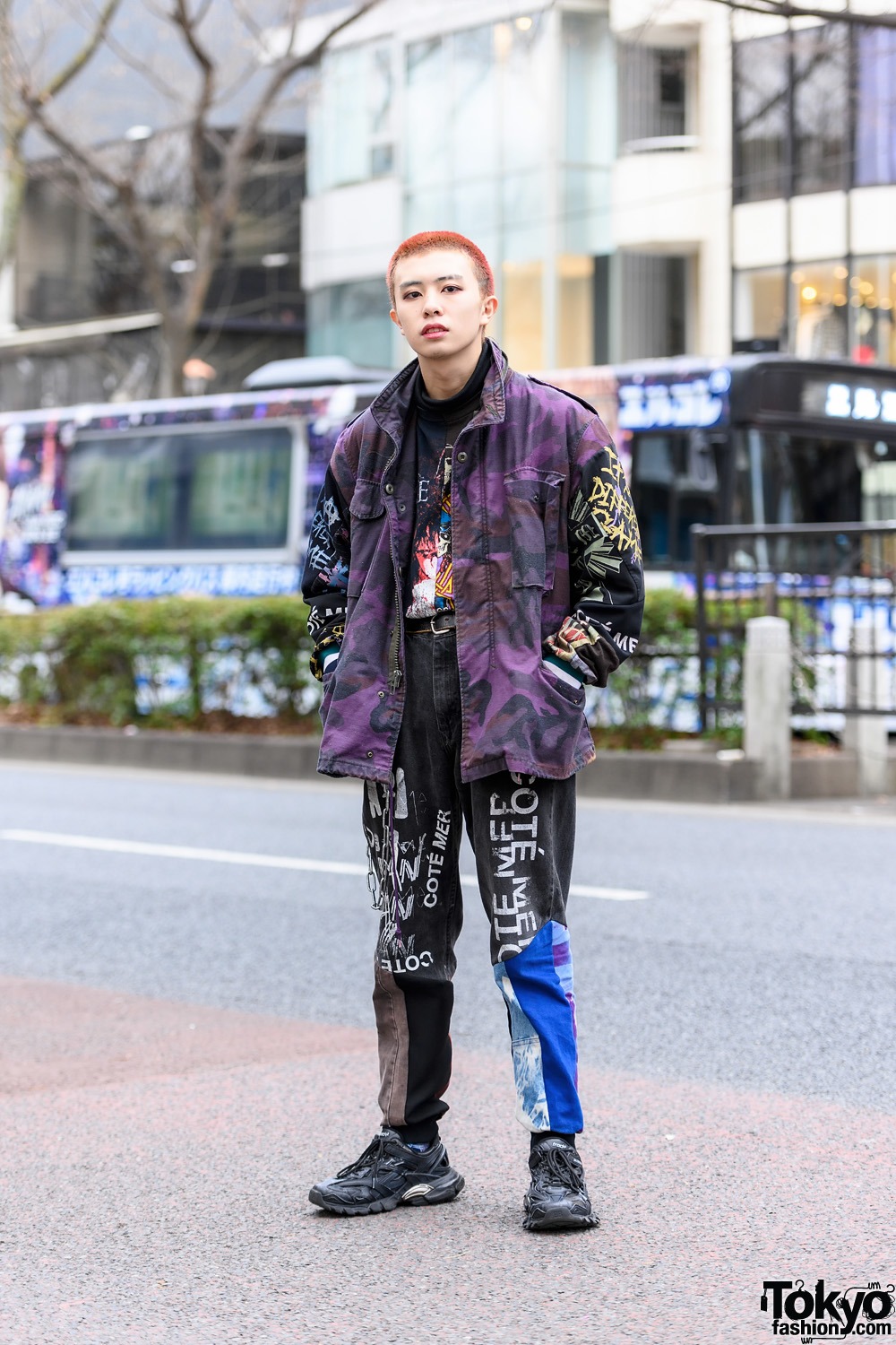 Japanese Model's Cote Mer Graphic Street Style w/ Pink Shaved Hair, Camouflage Jacket, Half Print Shirt, Graphic Pants, (ME) Harajuku & Balenciaga Sneakers