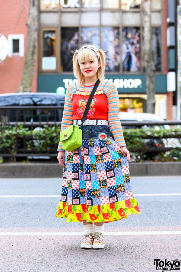 Colorful Tokyo Street Style w/ Twin Tails, Angel Blue Tank Top, Patchwork Skirt, WEGO Sling Bag & Converse Rainbow Sneakers
