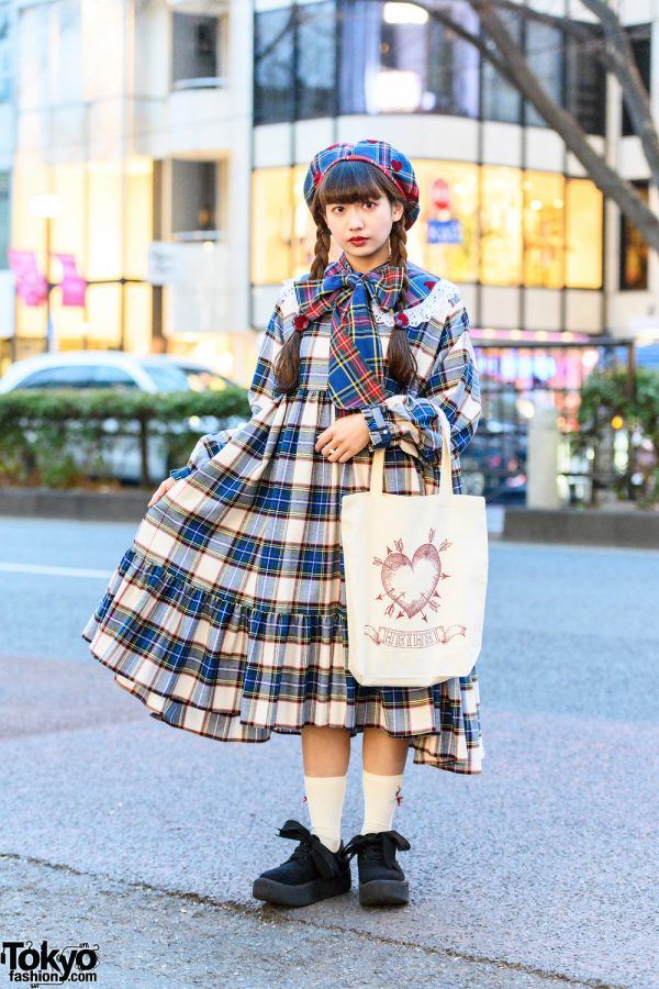 Plaid HEIHEI Streetwear Style w/ Heart-Shaped Beret, Detached Collar, Plaid Dress, Canvas Tote Bag & Tokyo Bopper Bow Shoes