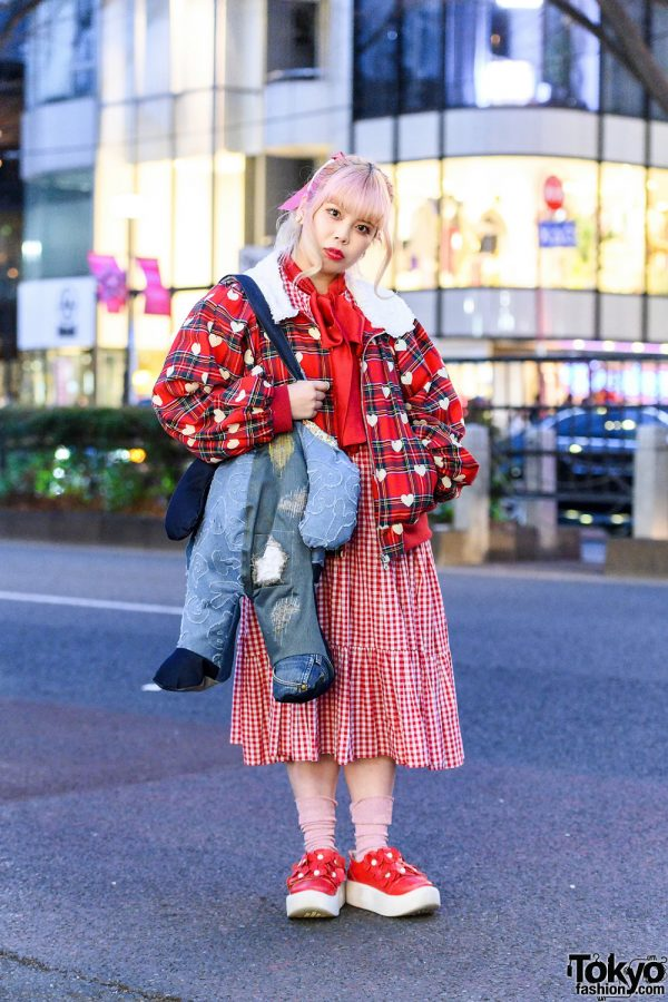 Red HEIHEI Streetwear Style w/ Ombre Pink Hair, Gingham Dress, Plaid & Heart Print Jacket, Denim Patchwork Bag & Tokyo Bopper Shoes