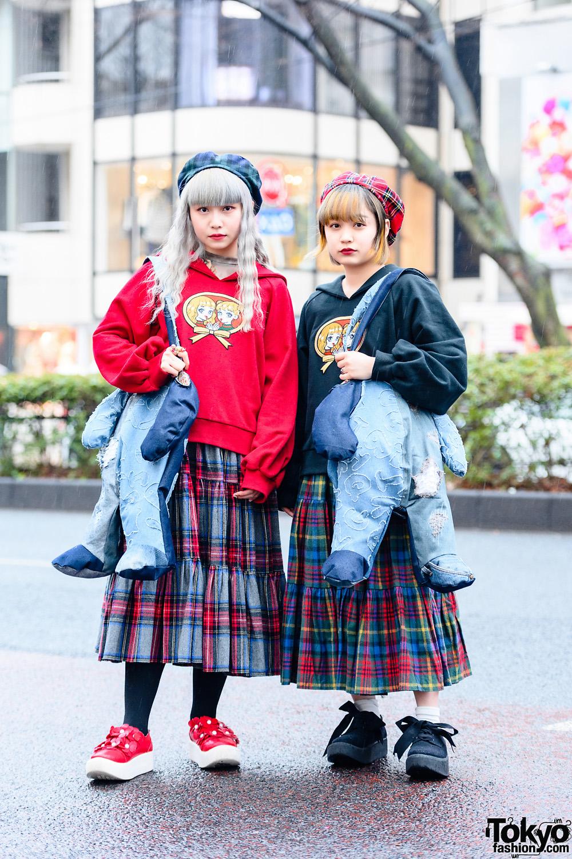 HEIHEI Harajuku Plaid Street Styles w/ Pastel Hair, Embroidered Sweaters, Plaid Skirts, HEIHEI x Okayama Denim Patchwork Bags & Tokyo Bopper Shoes
