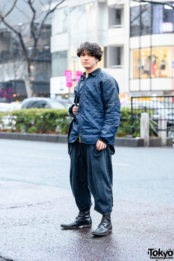 All Black Harajuku Street Style w/ Vintage Quilted Jacket, Christopher Nemeth Cutout Pants, Warp Tote & Leather Boots