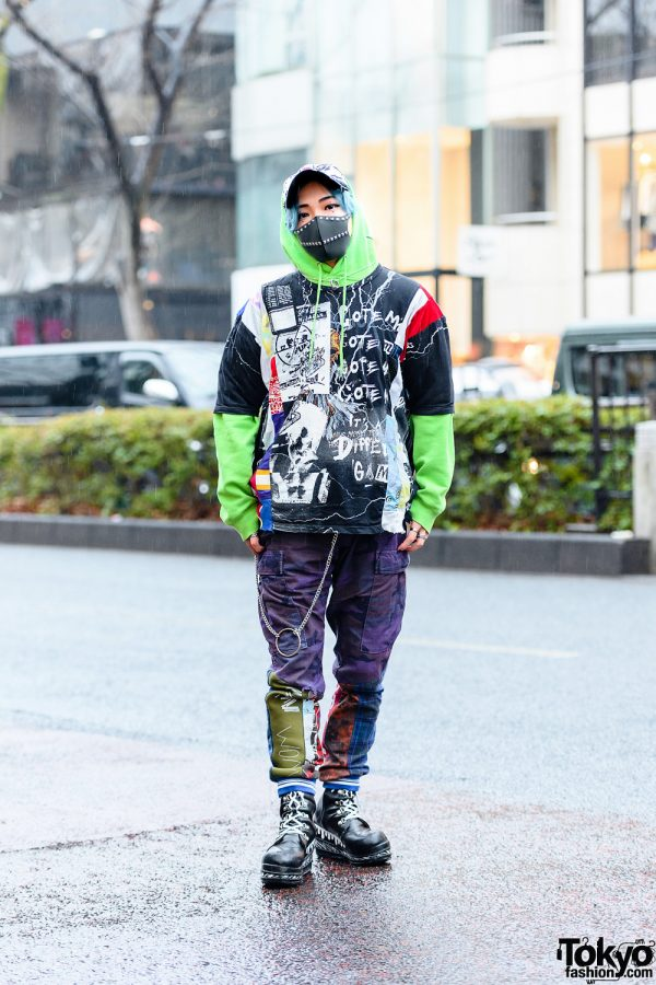Cote Mer Tokyo Graphic Streetwear Style w/ Studded Face Mask, Graphic Shirt, M&Ms Hoodie, Color Camo Pants & Platform Boots