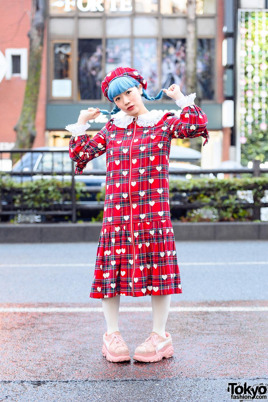 Tempura Kidz Karin in Kawaii HEIHEI Harajuku Fashion w/ Blue Twin Braids, Plaid Beret, Heart Print Dress, Tights & Buffalo x Puma Sneakers