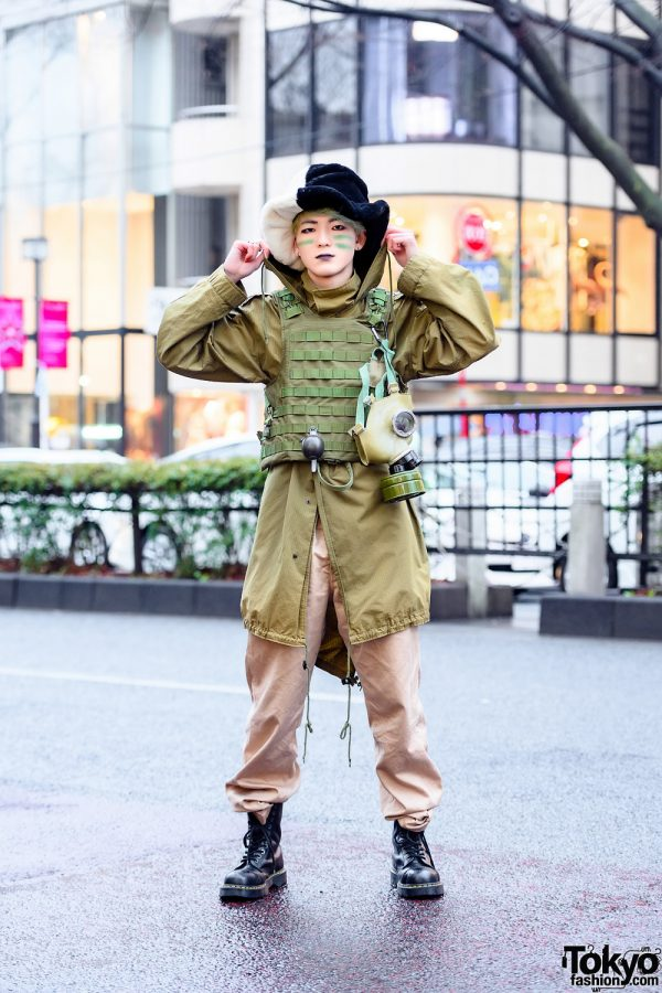 Harajuku Street Style w/ AnkoROCK Half-Color Furry Hat, Gas Mask, Vest, Alpha Industries Hoodie, Buzz Rickson's Khaki Pants & Dr. Martens Boots