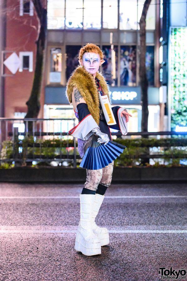 Japanese Graphic Designer's Street Style w/ Elf Ears, Jeweled Face, Faux Fur Vest, Plastic Tokyo Leotards & Demonia Platform Glitter Boots