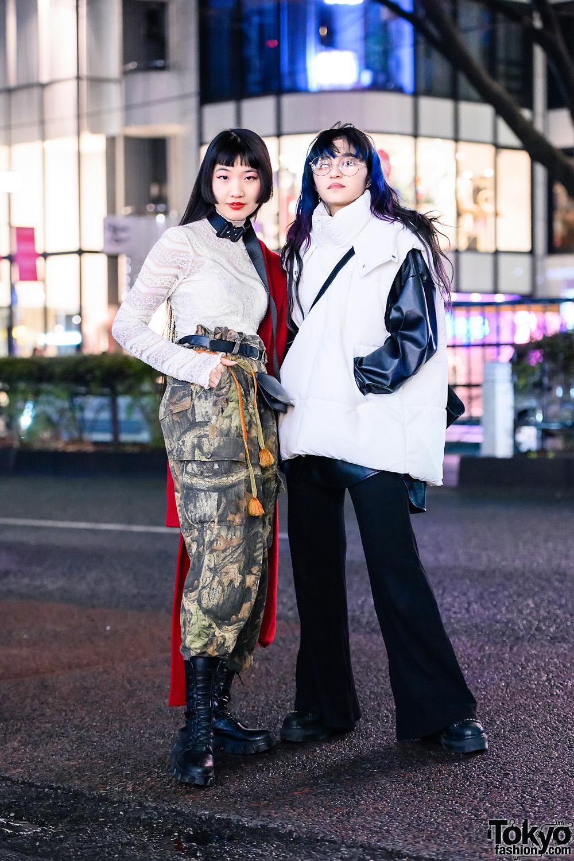 Tokyo Girls Streetwear Styles w/ Colorful Hair, Barrack Room, Dept Harajuku Belted Pants, Zara Puffer Vest, Bershka Flared Pants, Dr. Martens & Open The Door