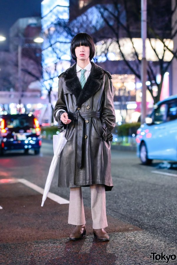 Retro Tokyo Street Style w/ Blunt Pageboy Hairstyle, Vintage Belted Leather Coat, Hugo Boss, DKNY & Balenciaga Boots
