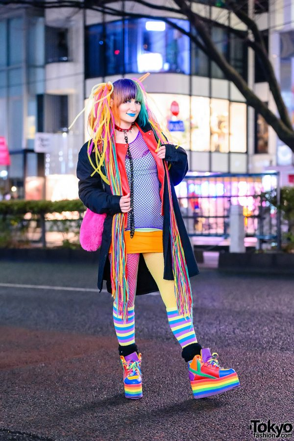 Rainbow Style in Harajuku w/ Handmade Hair Falls, Blue Lipstick, Volcan & Aphrodite, Kol Me Baby Cropped Jacket, WEGO Fishnets, Thank You Mart Furry Tote & YRU Platform Rainbow Sneakers