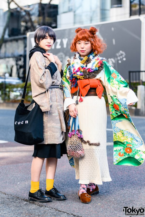 Tokyo Kimono Mix Styles w/  Twin Buns, Short Bob, Uniqlo Hoodie Jacket, GU Skirt, Handmade Fashion, Coen Bag, Pointy Suede Loafers & Lace-Up Leather Shoes