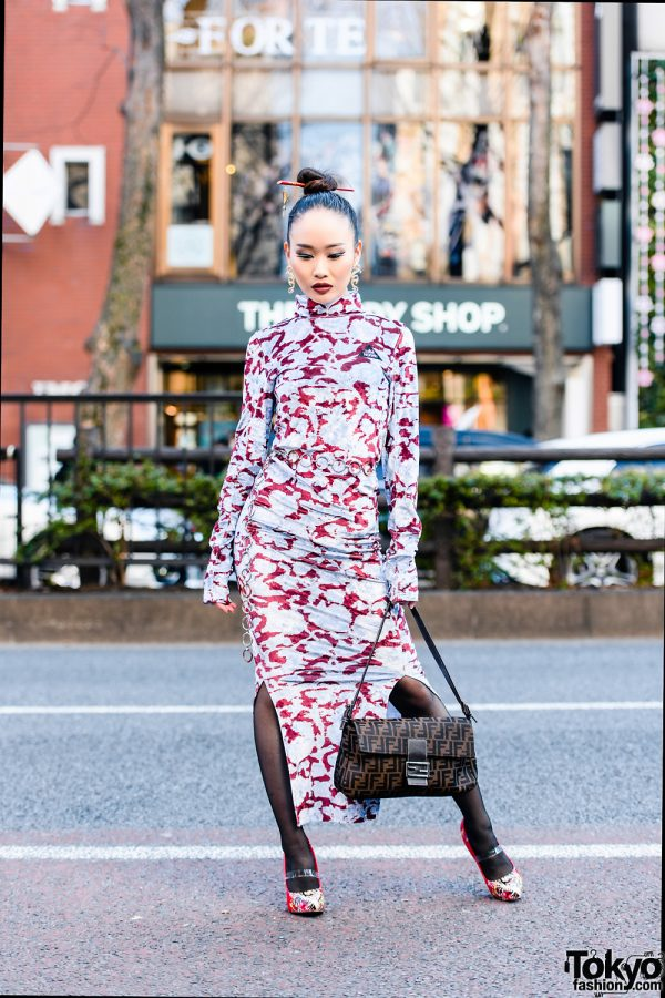 Chic Harajuku Style w/ Sleek Bun, Pinnap Dragon Earrings, Juemi Bodycon Dress, Fendi Bag & Ed Hardy Tiger Pumps