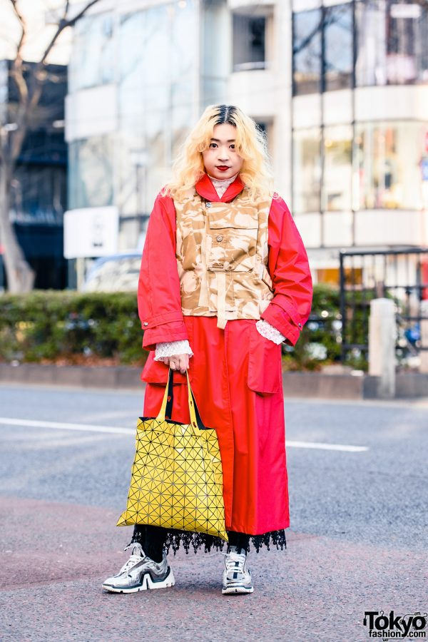 Harajuku Street Style w/ Camo Print Vest, Red Overcoat, Issey Miyake Bao Bao Tote & Pierre Hardy Chunky Sneakers