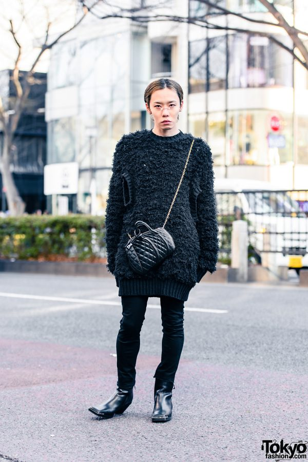 All Black Tokyo Style w/ Nose Jewelry, Cool Nail Art, John Lawrence Sullivan Mohair Sweater, Saint Laurent Paris, Anrealage & Acne Studios Square Toe Boots