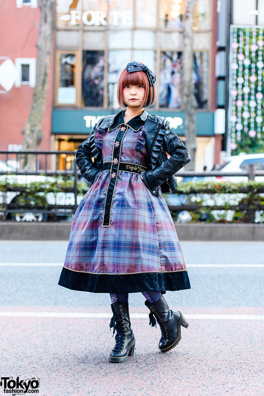 Japanese Lolita Streetwear in Harajuku w/ Bob Hairstyle, Bow Headband, MR Closet Ruffle Jacket, Triple Fortune Plaid Dress, Graphic Tights & Dr. Martens