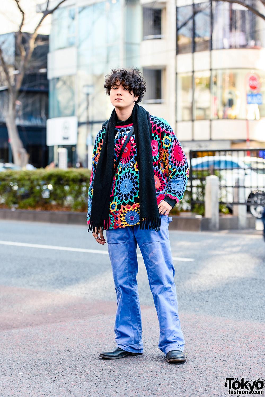 Harajuku Guy's Streetwear Style w/ Judy Blame Safety Pin Earring, Vivienne Westwood Fringe Scarf, Aphex Twin Hoodie, Italian Handmade Sling Bag & Vintage Shoes