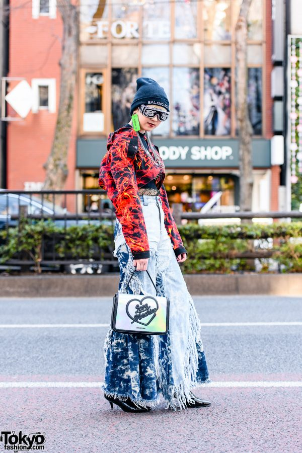 Graphic Tokyo Street Style w/ Balenciaga Beanie, Studded Sunglasses, ID Earring, Silver Chains, Dolls Kill Flame Jacket, Spiked Bralette, MYOB Flared Pants, Moschino & Patent Leather Heels