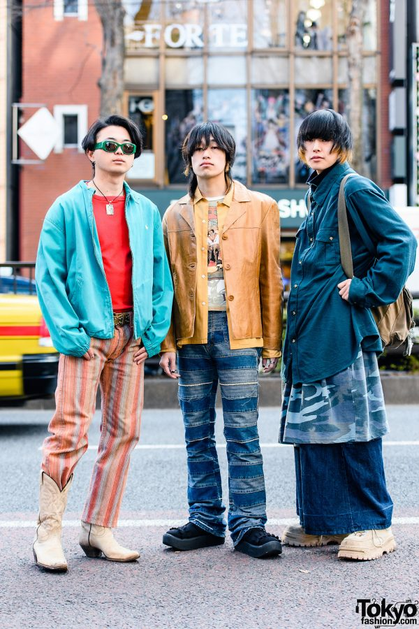 Tokyo Street Styles w/ Shaggy Hair, Polo Ralph Lauren Jacket, Pinstripe Pants, Kinky Patchwork Pants, Pameo Pose, Adidas, King Size Wide Pants, Tiffany & Co., Precious Junk, Cowboy Boots, Tokyo Bopper & Eytys