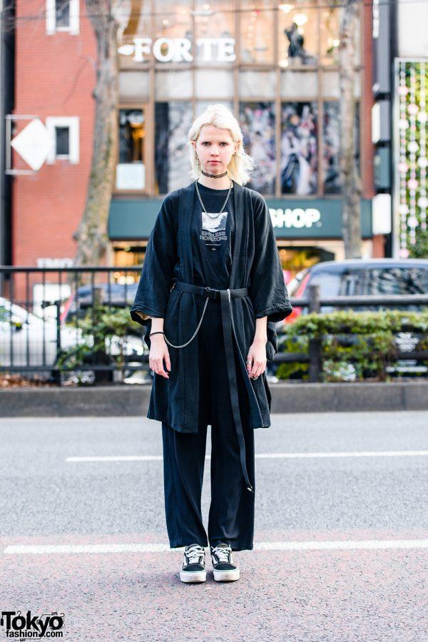 All Black Harajuku Streetwear Style w/ Ash Blonde Hair, Cross Earrings, Tattoo Choker, Resale Kimono, Endless Horizons T-Shirt, Long Belt & Vans Sneakers