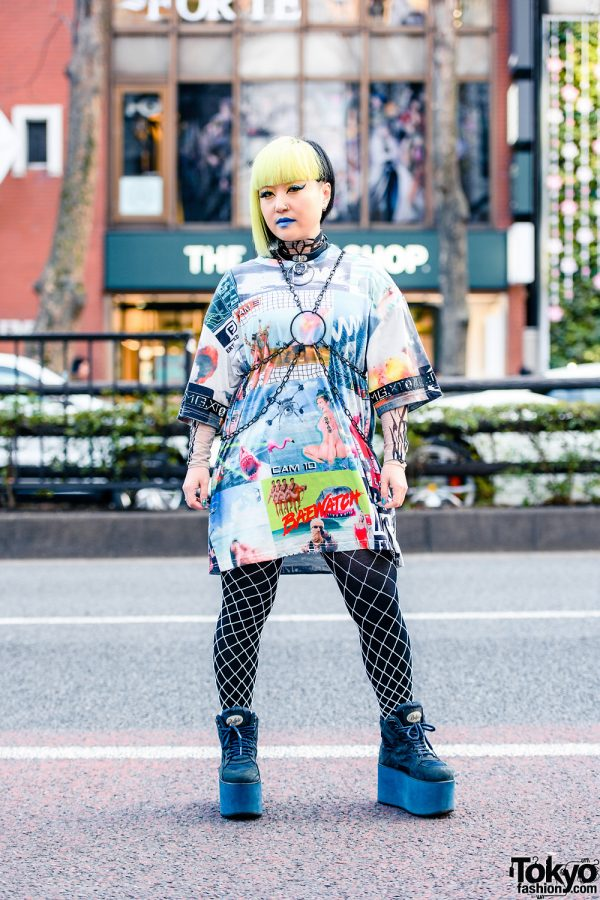 Tokyo Street Style w/ Half Color Asymmetrical Bob, Blue Lipstick, O-Ring Harness, Damage Shirt, Tribal Tattoo Print, Fishnet Tights & Buffalo Platform Sneakers