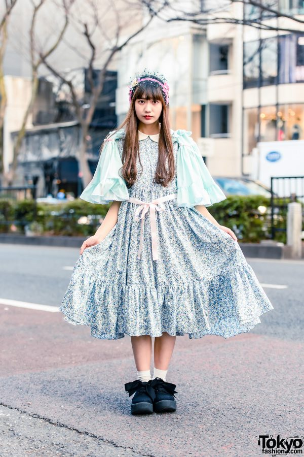 HEIHEI Pastel Streetwear Style w/ Veiled Headdress, Floral Print Dress & Tokyo Bopper Bow Shoes