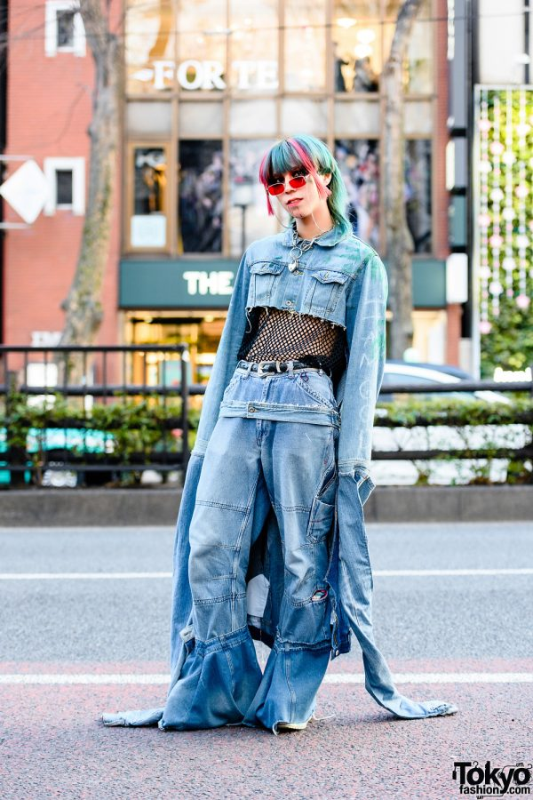 Denim Remake Street Style in Harajuku w/ Cropped Denim Jacket, Oversized Flared Jeans & ACDC Rag Platforms