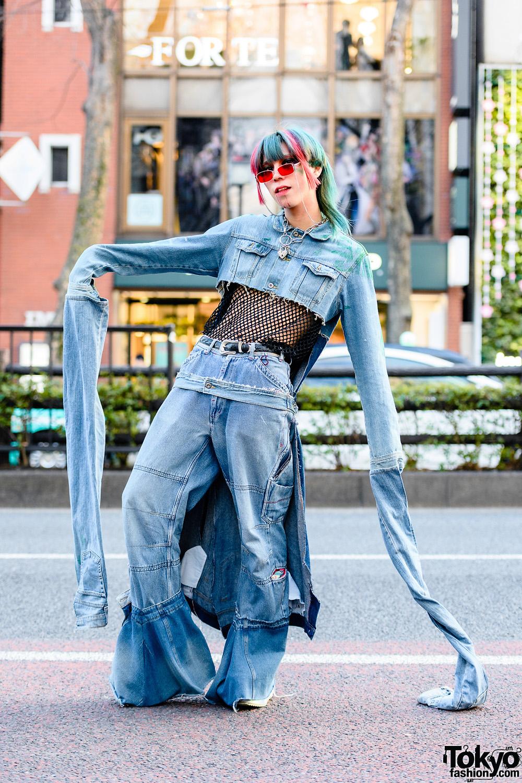 Denim Remake Street Style in Harajuku w/ Cropped Denim Jacket, Oversized Flared Jeans & ACDC Rag Platforms