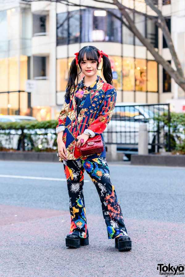 Harajuku Mixed-Print Style w/ Twin Tails, Kobinai Printed Suit, Resale Fashion, Quilted Sling Bag, 6%DokiDoki Rings & Yosuke Platforms