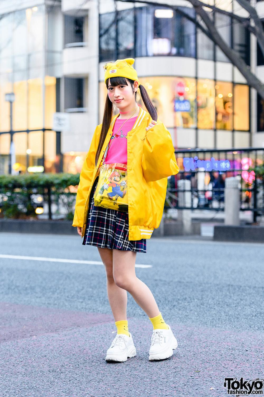 Harajuku Style w/ Twin Tails, Heart-Shaped Glasses, Bomber Jacket, WC Plaid Skirt, Nintendo Mario Bros Sling Bag & WEGO Subculture Sneakers