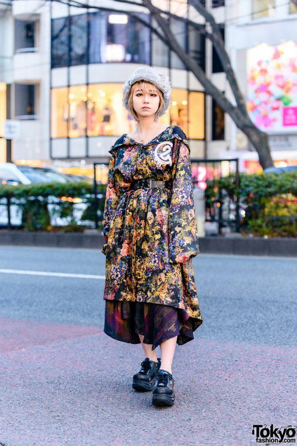 Harajuku Girl in Furry Pillbox Hat, &ellecy Floral Print Coat, Diesel Asymmetrical Dress, Bless & Yosuke