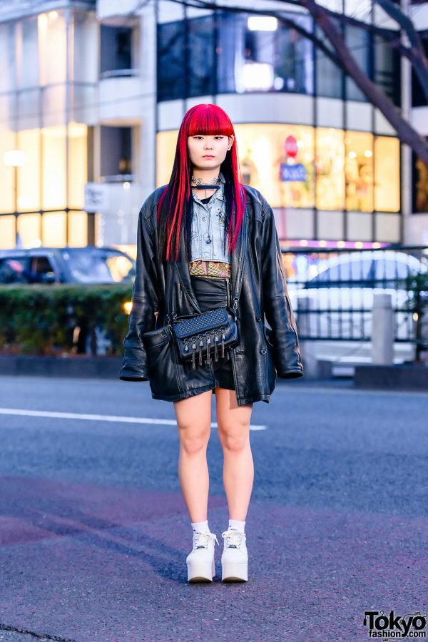 Tokyo Leather Jacket Street Style w/ Red & Black Hair, Skeleton Hands Choker, Denim Vest, Crossbody Bag & Yosuke Platforms
