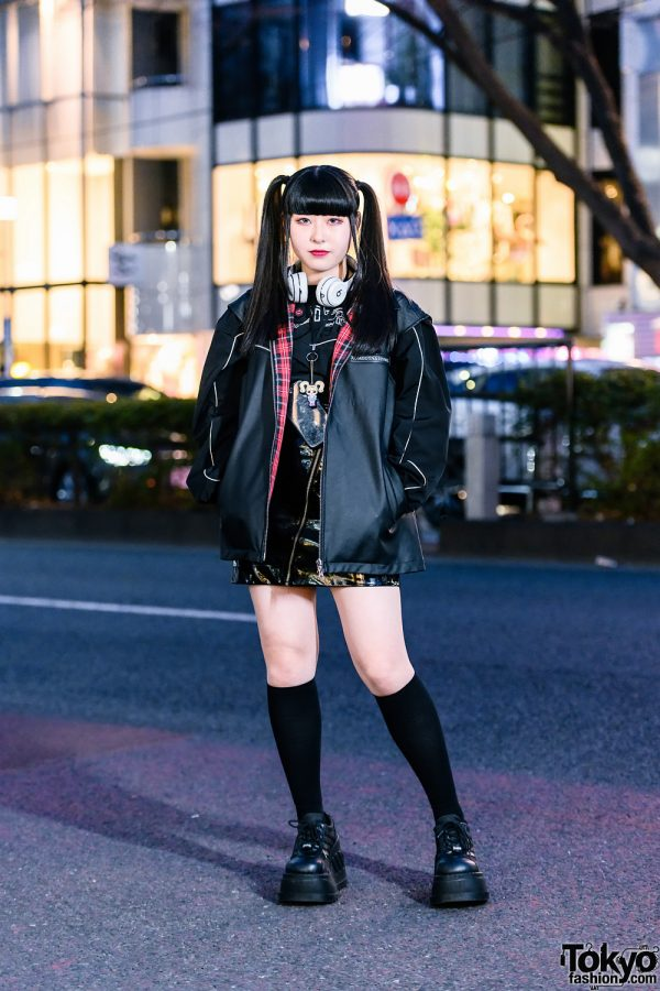 Harajuku Street Style w/ Twin Tails, Headphones, Another Youth Jacket, OZOD, Pleather Skirt, Zara Backpack & Demonia