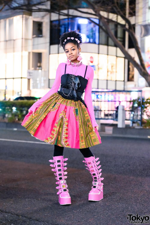 Pink Tokyo Street Style w/ Floral Headpiece, Cutcha.co Tassel Earrings, Widow Corset, Etsy Hoop Skirt & Demonia Pink Buckle Boots