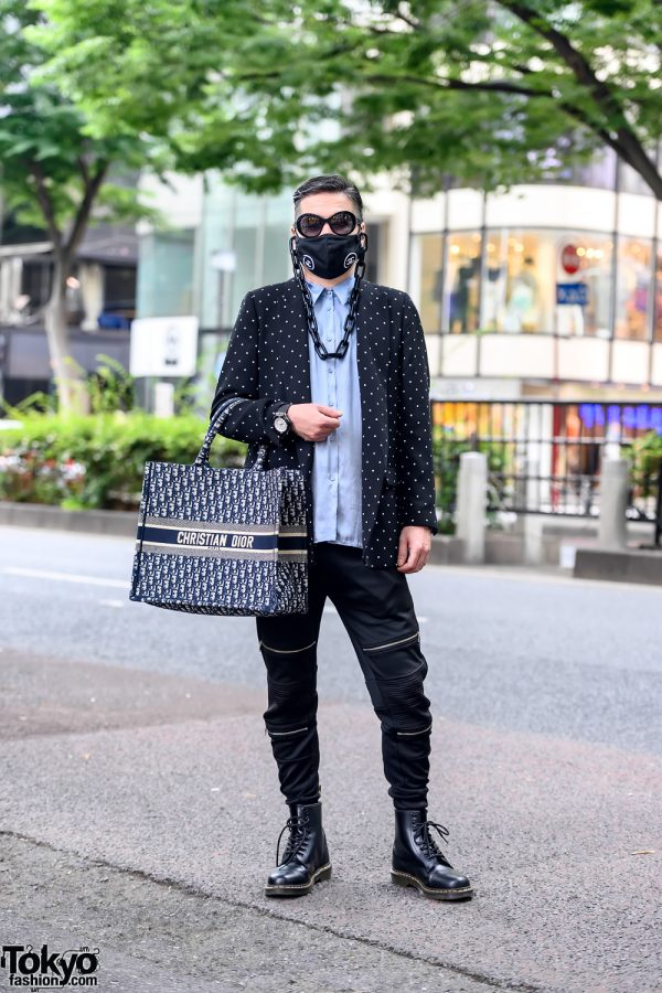 Japanese Fashion Stylist w/ Chanel Logo Chain Face Mask, Christian Dior Tote Bag & Dr. Martens in Harajuku