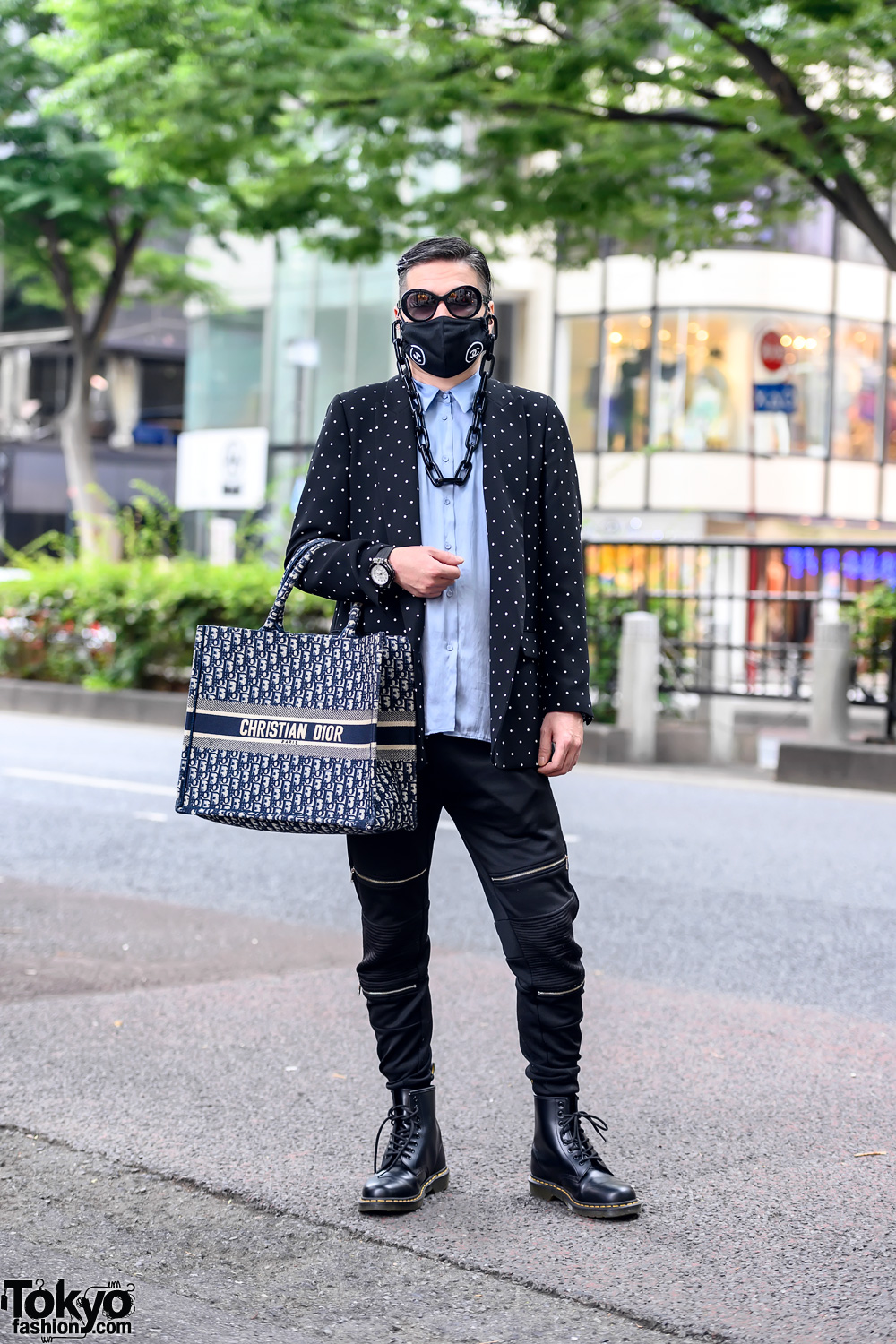 Japanese Stylist in Chanel Logo Face Mask