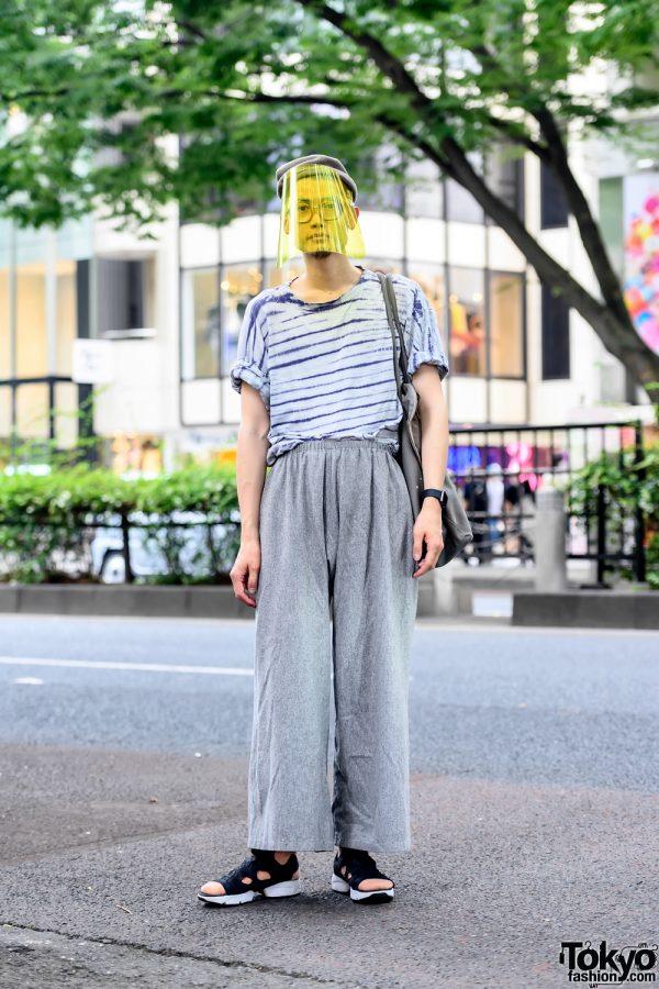 Japanese Hairstylist in Harajuku w/ Face Shield & Minimalist Vintage Fashion by Sokkyou Tokyo