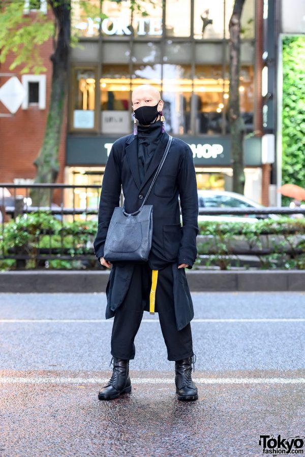 Japanese Actor's Yohji Yamamoto Street Style + Bizenart Face Mask in Harajuku