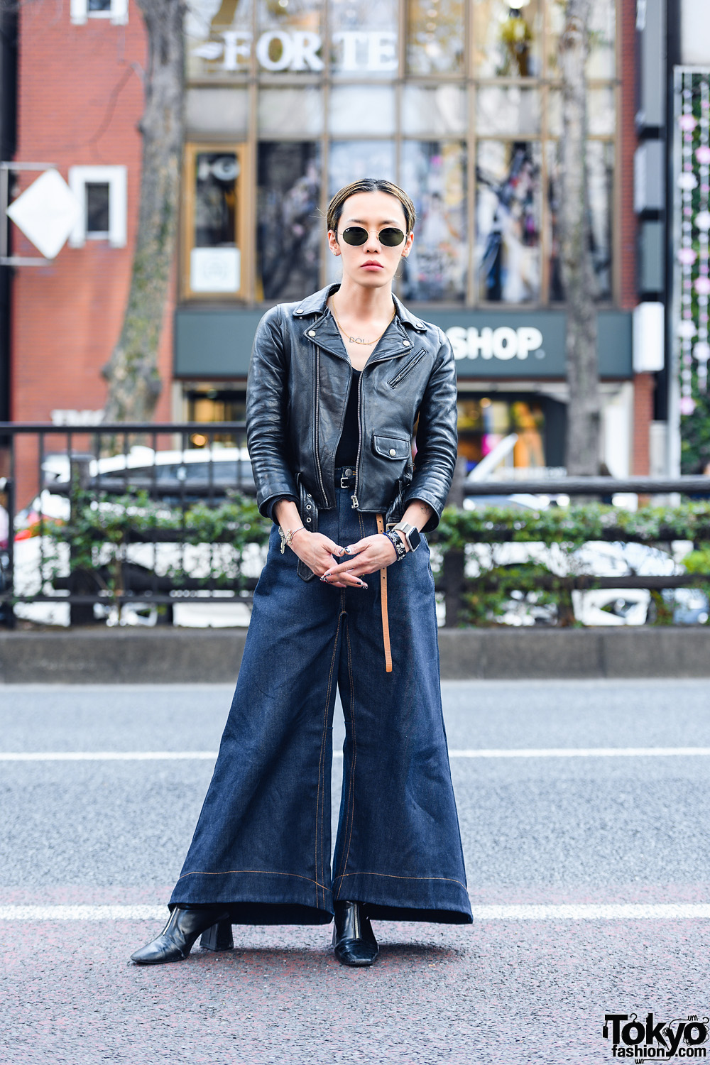 Anrealage Japan Street Style w/ Sunglasses, Beautiful People Biker Jacket, Anrealage Denim Flared Pants & Pointy Leather Boots