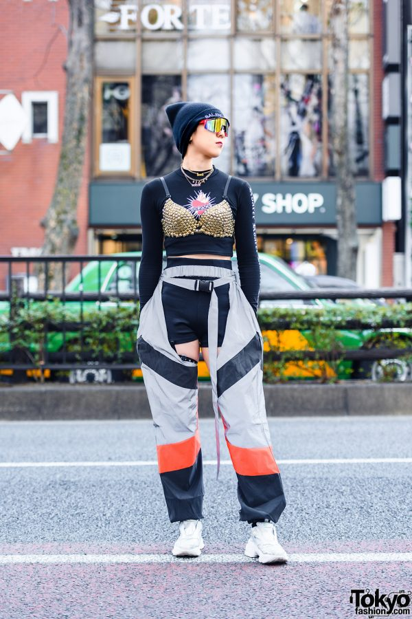 Tokyo Sporty Streetwear Style w/ Visor Sunglasses, Balenciaga Beanie, Pinnap Statement Necklaces, Studded Bralette, Gallerie Crotchless Pants & Jeffrey Campbell Metallic Sneakers