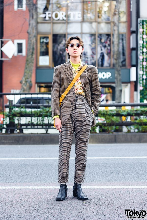 Menswear Street Style w/ Sunglasses, Vintage Rings, Bed JW Ford Checkered Suit, Vintage Coach Bag & Zara Boots