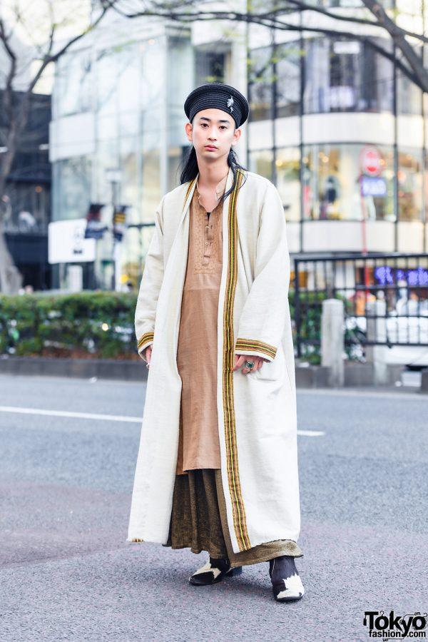 Harajuku Vintage Street Style w/ Black Hat, Long Robe, Tunic Top, Snakeskin Skirt & Calf Skin Boots