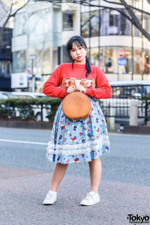 Harajuku Girl's Style w/ Teddy Bear Sweater, Angel Print Ruffle Skirt, Round Handbag & White Sneakers