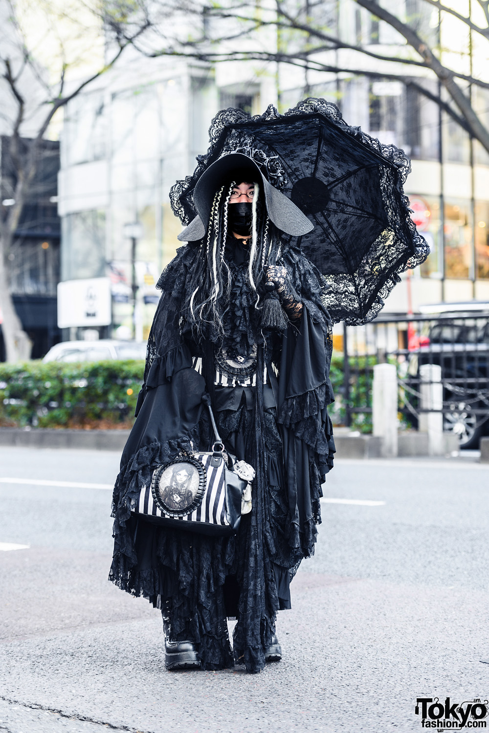 Tokyo Gothic Style in Harajuku w/ Wide Brim Hat, Lace Parasol, Gothic (Rose) Tiered Dress, ReStyle Corset & Bag, Killstar, Noble Noire & Yosuke Boots