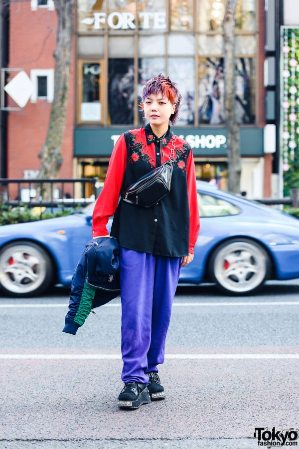 Harajuku Street Style w/ Colorful Pixie Hair, Leather Waist Bag, Tommy Hilfiger Bomber Jacket, Resale Fashion & Mesh Boots