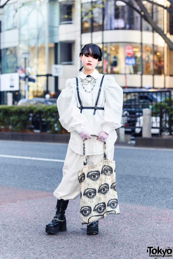 All White Harajuku Street Style w/ Skull Necklace, Leather Harness, (ME) Harajuku Balloon Sleeve Shirt, Kinji Pants, Aloa Harajuku Tote & Yosuke Boots