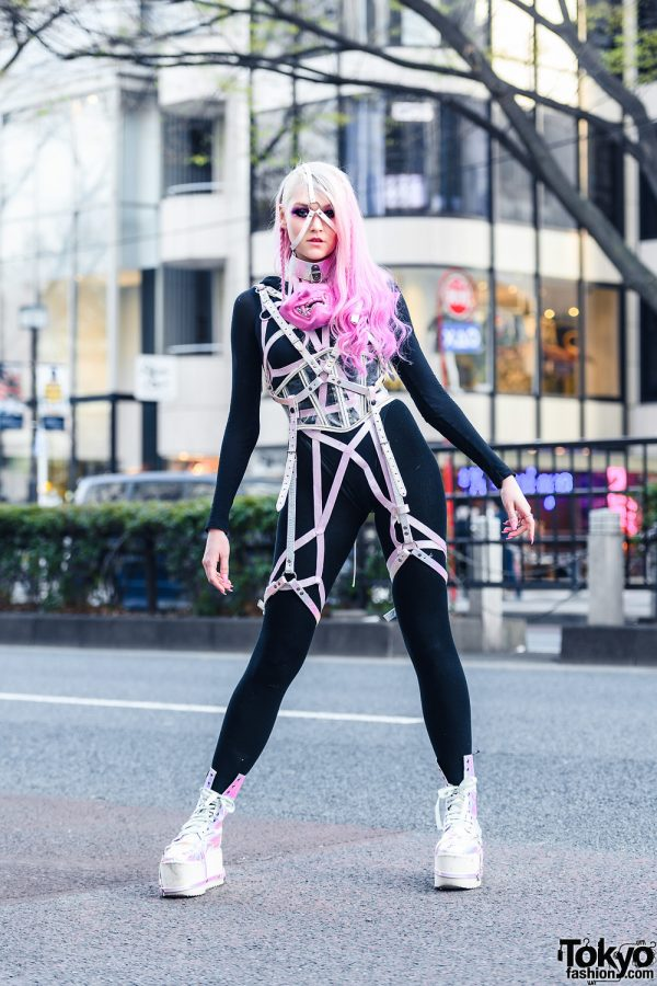 Tokyo Cyber Streetwear Style w/  Ombre Pink Hair, Face Harness, Pink Mask, Wolford Bodysuit, Clear Corset, Handmade Harness & Be Fierce Metallic Boots