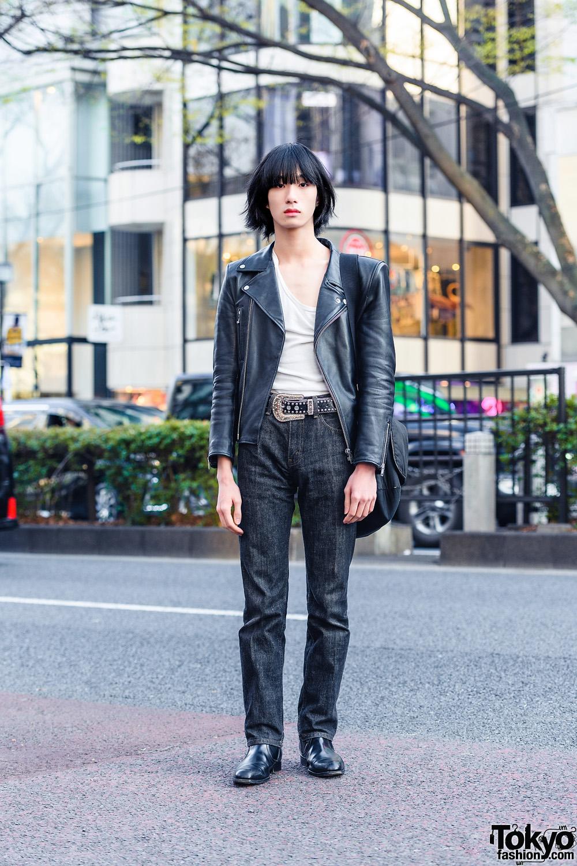 Monochrome Tokyo Style w/ Vintage Leather Jacket, N.Hoolywood, Levi's, Y's Shoulder Bag & Vintage Chelsea Boots
