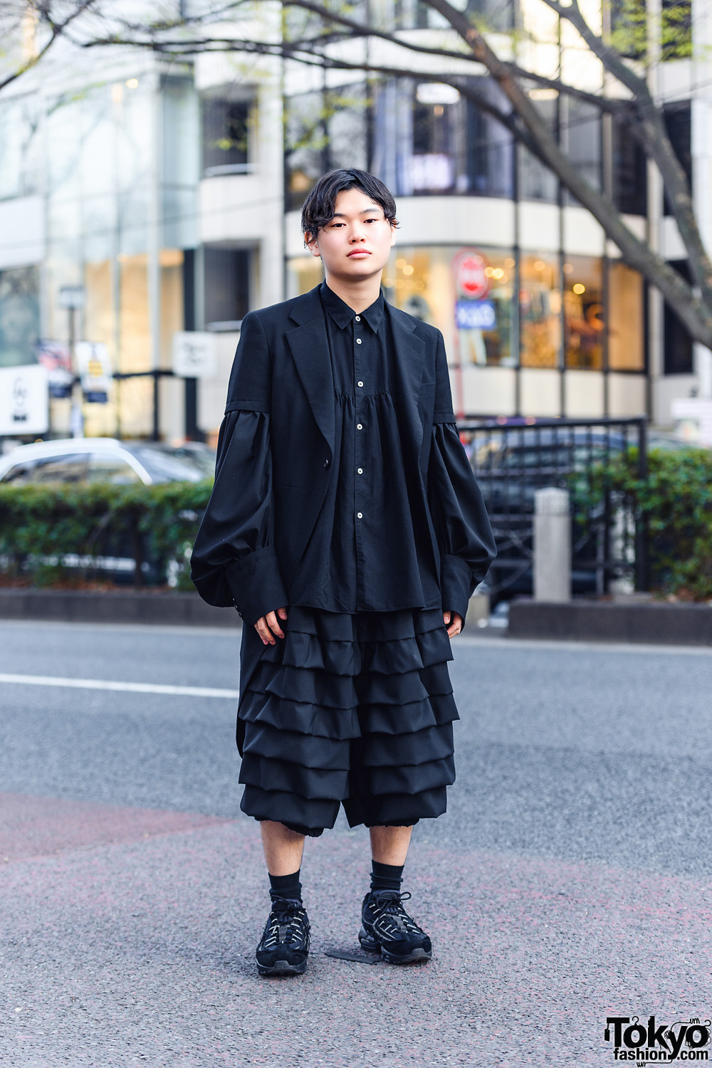 All Black Comme des Garcons Style w/ Short Sleeve Penguin Tail Coat, Balloon Sleeve Shirt, Ruffle Pants & Sneakers