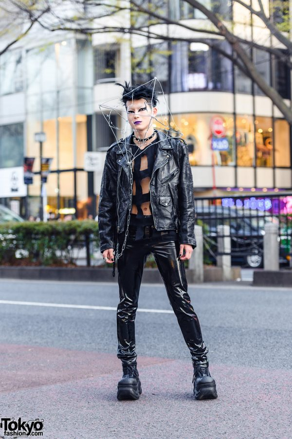 Barbwire Cage Headpiece Harajuku Style w/ Comme des Garcons Cutout Shirt, Leather Pants & Demonia Platform Boots