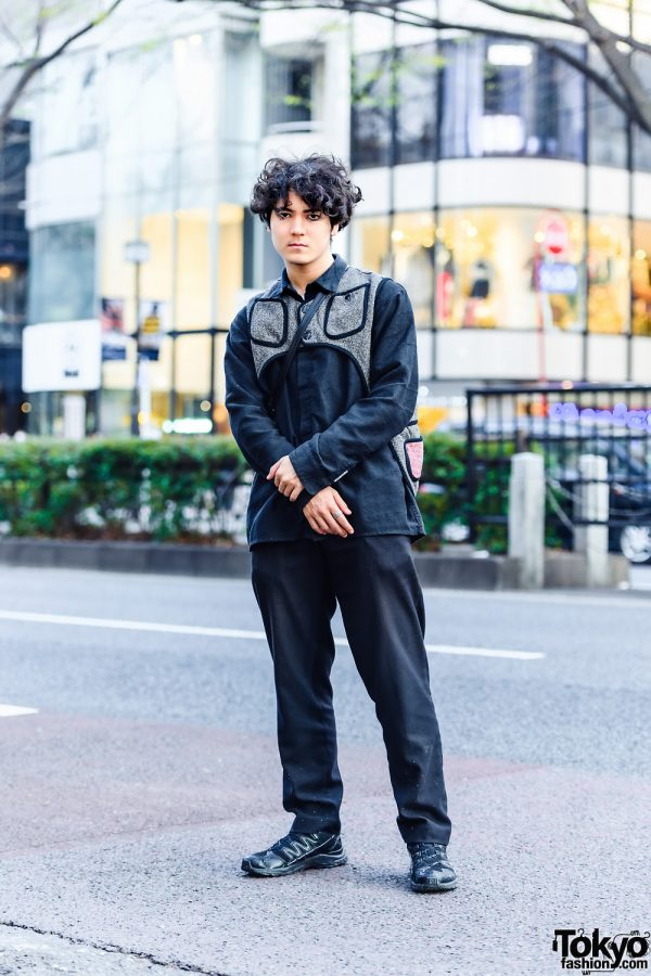 All Black Style w/ Kapital Asymmetrical Vest, Vintage Fashion, Italian Handmade Sling & Salomon Sneakers