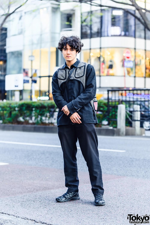 All Black Style w/ Kapital Asymmetrical Vest, Vintage Fashion, Italian Handmade Sling & Salomon Sneakers